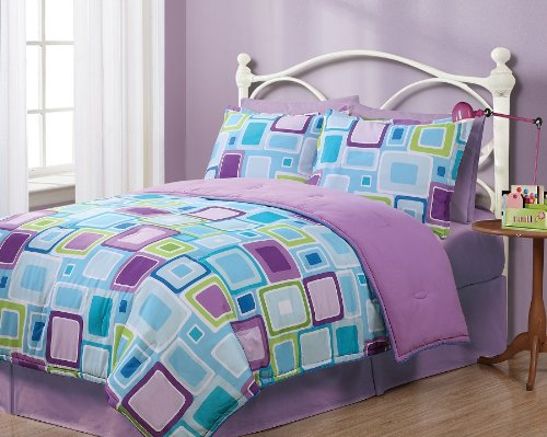 Twin Geo Aqua Square Reversible Comforter Set