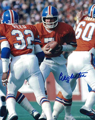 CRAIG MORTON AUTOGRAPHED/SIGNED DENVER BRONCOS 8X10 PHOTO (HAND ()