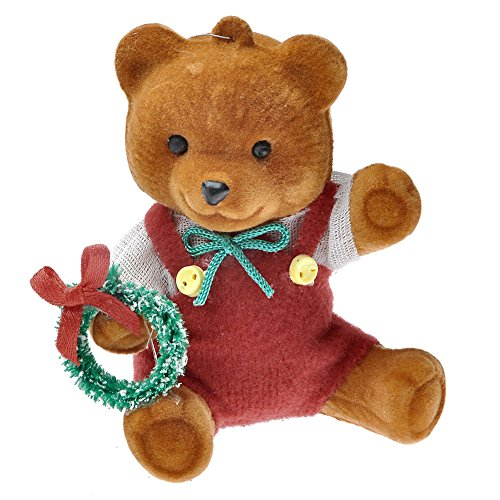 Yoption 2 Pcs Teddy Bear Christmas Tree Little Wreath Teddy Bear Hanging Ornaments Xmas Festival Home Decor(Wreath) (Teddy Christmas Bear Ornament Tree)