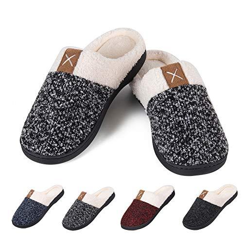 (Men's Warm Slippers Women's House Shoes Memory Foam Cozy Cotton Plush Fleece Lining Slip-on Home Shoes Indoor & Outdoor(X-Grey,44/45))