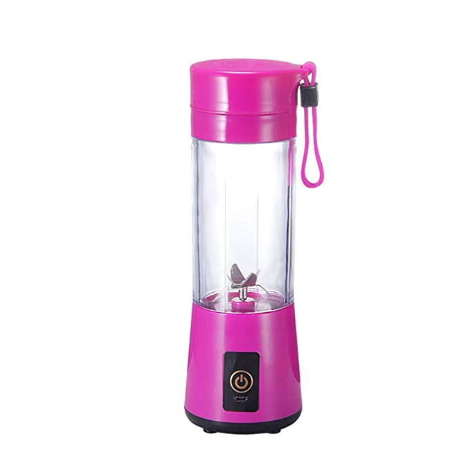 LIRONG Portable Glass Juicer Personal Small Electric Juice Blender Can Charge 400Ml Capacity Through USB Port,Red