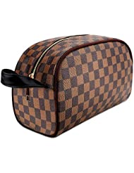 Makeup Bag Leather Large Makeup Cosmetic Bag for Women Waterproof Travel Makeup Organizer Purse Leather Large Capacity Toiletry Pouch Storage Makeup Tools