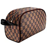 Makeup Bag Leather Large Travel Makeup Cosmetic Bag for Women Waterproof Makeup Organizer Purse Leather Toiletry Pouch Storage Makeup Tools Foundation
