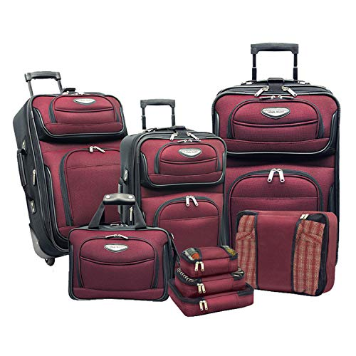 (Travelers Choice Amsterdam 8pc Set, Red/Burgundy)