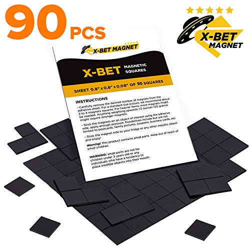 Magnetic Squares - Flexible Magnetic Sheet of 90 Self Adhesive Magnetic Squares (Each 4/5
