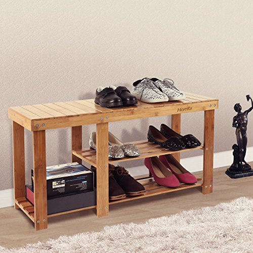 Homfa Bamboo Shoe Rack Bench 2 Tier Wooden Boot Organizing Rack Entryway 100% Natural Storage Shelf