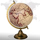 Desktop Rotating Globe Georgraphy World Map Beige 8'' Inches Metal Base Educational Globe Office Table Topper