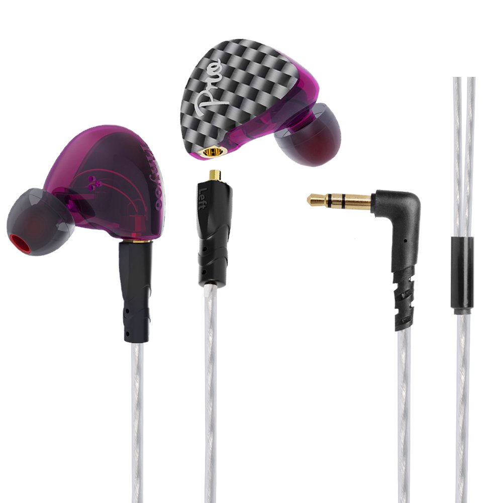 In-ear HIFI Earphone, Wired Headphone Earbuds PRO Hifi Stereo Headset with Dynamic and Balanced Armature Hybrid Driver and MMCX Cable for Smartphone,Tablets, Laptops, Music Player(Purple WITHOUT Mic)