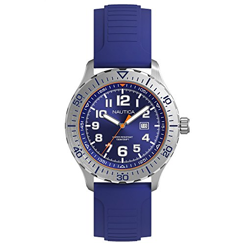 Nautica Men's 'NSR 105' Quartz Stainless Steel and Silicone Casual Watch, Color:Blue (Model: NAD12535G)