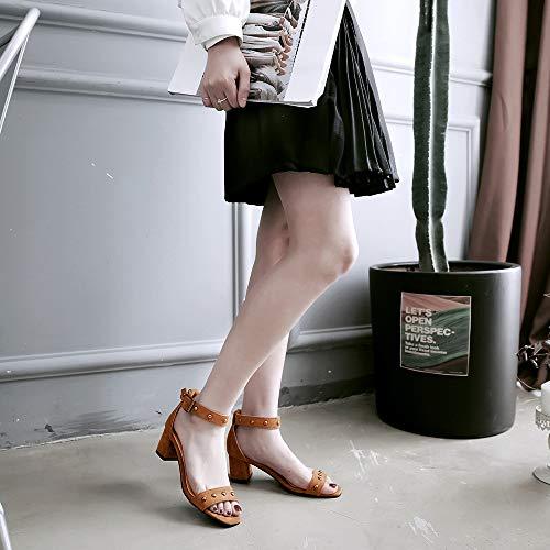 Chaussures Jaune bout Sandals Dance ouvert Ankle Zpfme Talon Avec Carré Strap à Femmes Party AvnCfq8xOw