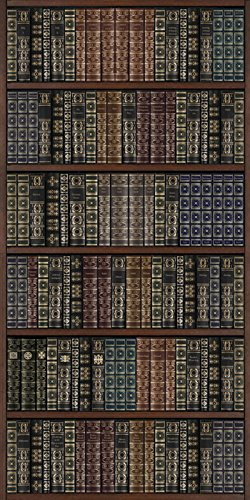 6-Feet by 3-Feet JP London MD4166PS Peel and Stick Vintage Book Shelf Doctor Watsons Library Fully Removable Wall Mural