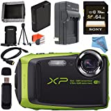 Fujifilm FinePix XP90 Digital Camera (Lime) 16500208 + Sony 64GB SDXC Card + Lithium Ion Battery + External Rapid Charger + Memory Card Wallet + Card Reader + Fibercloth + HDMI Cable Bundle