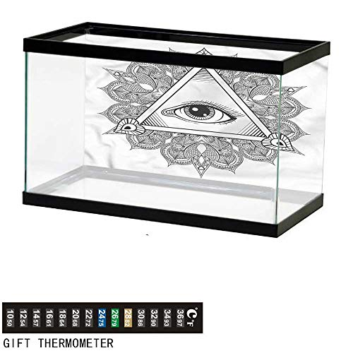 bybyhome Fish Tank Backdrop Eye,Vintage Tattoo Boho Occult,Aquarium Background,24