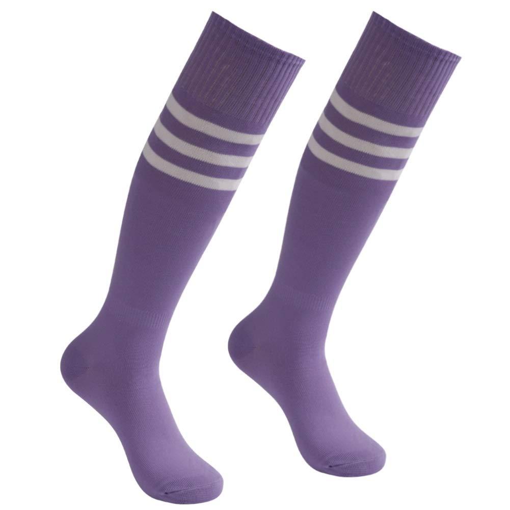 Purple Soccer Socks, Atrest Unisex Performance Sweat-Absorbent Knee High Sport Athletic Football Baseball Long Tube Socks Purple+White Stripe 2 Pairs by Atrest