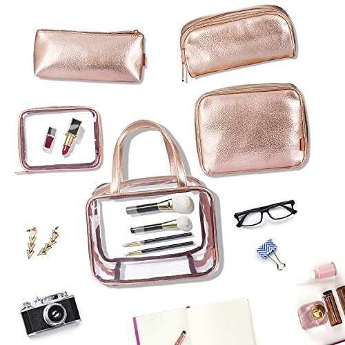 NiceEbag 6 in 1 Clear Backpack with Cosmetic Bag & Case, Clear Transparent PVC School Backpack Outdoor Bookbag Portable Travel Toiletry Bag Makeup Quart Luggage Organizer (Rose Gold) by NiceEbag (Image #4)
