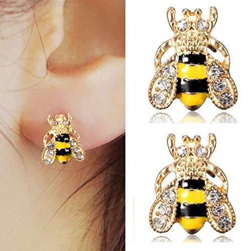Enamel Crystal Animal - paweena NEWLY Jewelry Enamel Rhinestone Bumble Bee Crystal Earrings Animal Ear Stud