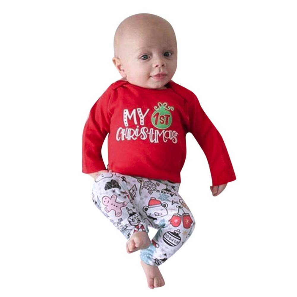 Baby Unisex Pajamas Tee and Pant Cotton Red