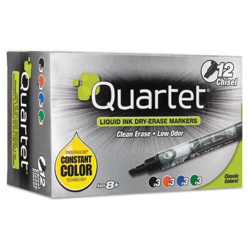 Quartet - EnduraGlide Dry Erase Markers, Chisel Tip, Assorted Colors, 12/Set 5001-18M (DMi ST Enduraglide Dry Erase Marker Chisel
