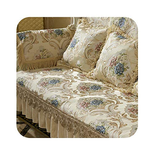 (Europe Style Luxury Floral Jacquard Embroidery sectional Sofa Covers Ruffles lace Spliced slipcovers fundas de Sofa SP5406,Beige per pic,55cm55cm Pillowcase)