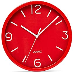 Bernhard Products Red Wall Clock 8 Inch Silent Non Ticking, Quality Quartz Battery Operated Round Easy to Read for Kitchen Home Office Bedroom Bathroom Decorative Clocks (Red)