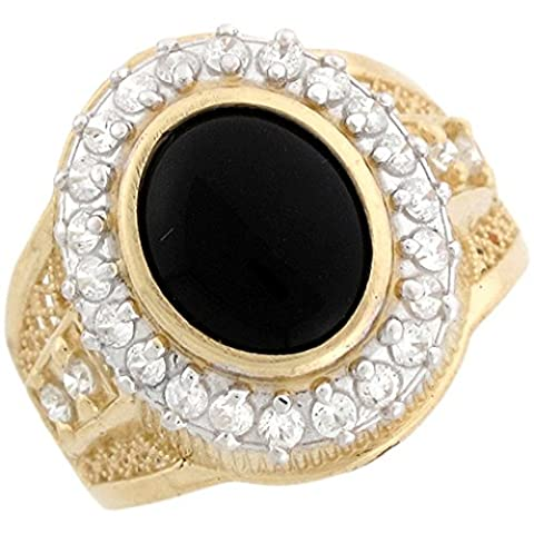 10k Real Gold 9x11mm Oval Black Onyx & CZ Beautiful Unisex Ring (Oval Cut Black Onyx Ring)