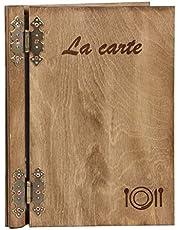 Hotel tarjeta llano tarjeta Madera menús Texto grabado Francés la Carte, madera, marrón, 1 französiche Speisekarte