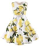 MUADRESS Girls Sleeveless O-Neck Audrey 1950s Vintage Swing Princess Easter Party Dress Lemon S
