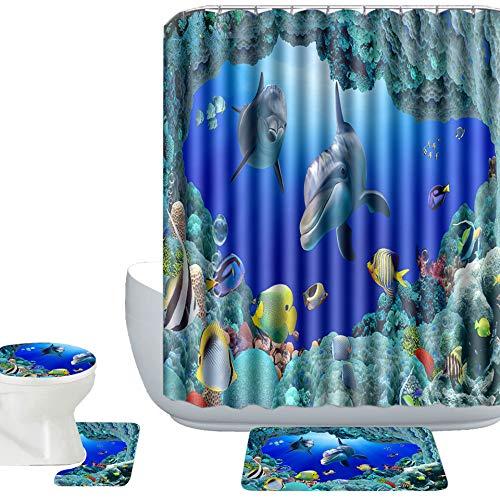 Amagical 16 Piece Ocean Style Underwater World Dolphin Bathroom Mat Contour Mat Toilet Cover Fabric Shower Curtain Bathroom Shower Curtain Sets with 12 Hooks