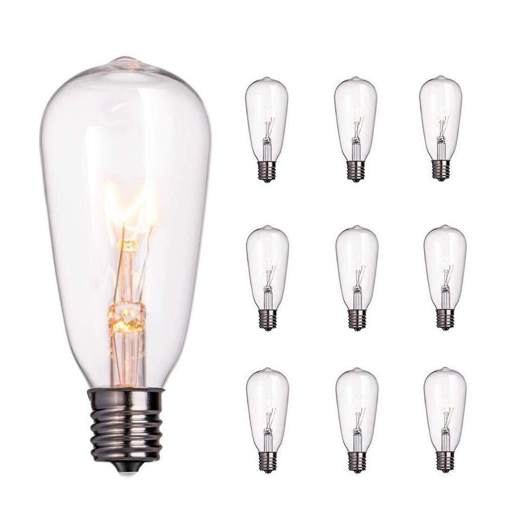 10-Pack Edison Light Bulbs, 7-watt E17 Candelabra Screw Base ST40 Replacement Clear Glass Light Bulbs for Outdoor Patio Edison Bulb String Lights, Warm White