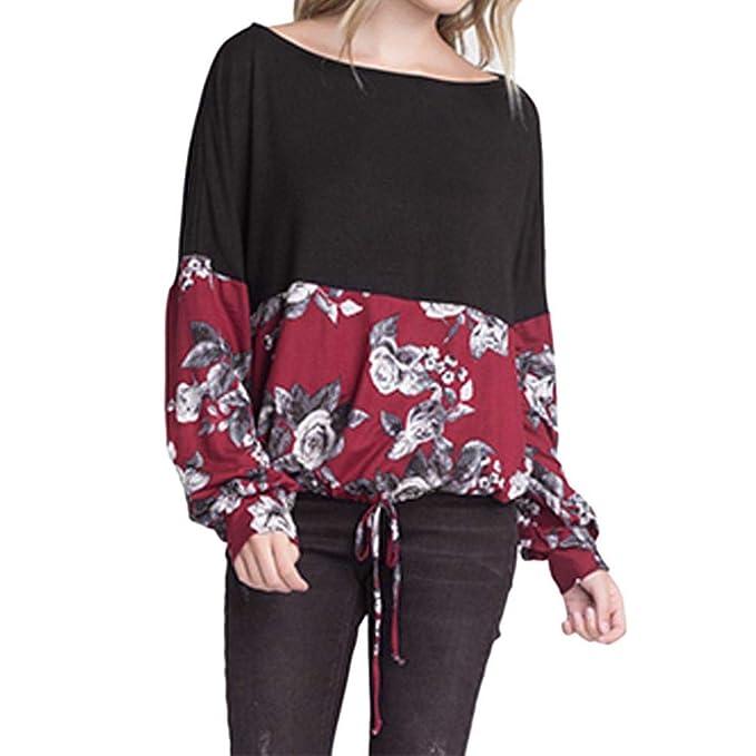 Mujer Camisas Lonshell Blusa Casual de Manga Larga con Estampado Floral y Blusa Floja de Encaje Negro Atada A La Cintura Blusa Camisa Superior: Amazon.es: ...