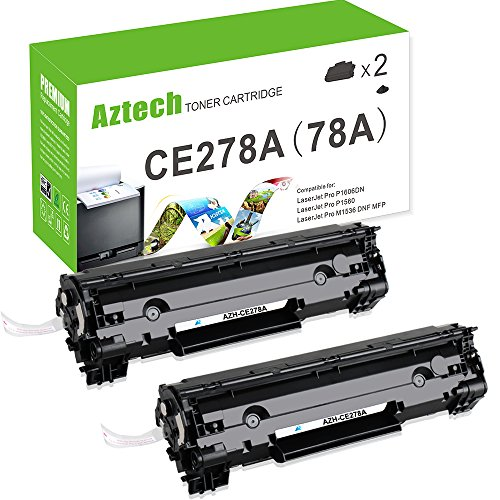 Aztech 2 Pack Replaces 78A CE278A Black Toner Cartridge 2,100 Pages Yield For LaserJet Pro P1606DN P1606 P1566 P1560 M1536 MFP M1536DNF Printer