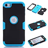 iPod Touch 5 Case,iPod Touch 6 Case, NOKEA Layered 3in 1 Hard PC Case Silicone Shockproof Heavy Duty High Impact Armor Hard Case for Apple iPod Touch 6 5th Generation (Black+Blue)