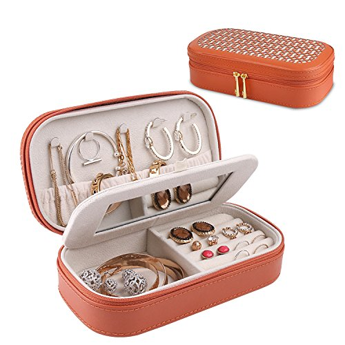 Bonded Leather Jewelry (A Comely Travel Jewelry Box Accessories Jewelry Storage Bag Organizer Case, Bonded leather, Weaving Grain, Zipper Design with Mirror (Orange))