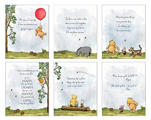 Winnie The Pooh Baby Shower Decorations, Gift Prints – Set of 6 (5″x7″) Nursery Wall Art Decor – Baby Bedroom Decor, Nursery Decor, Kids Bathroom Wall Decor, Playroom Decor