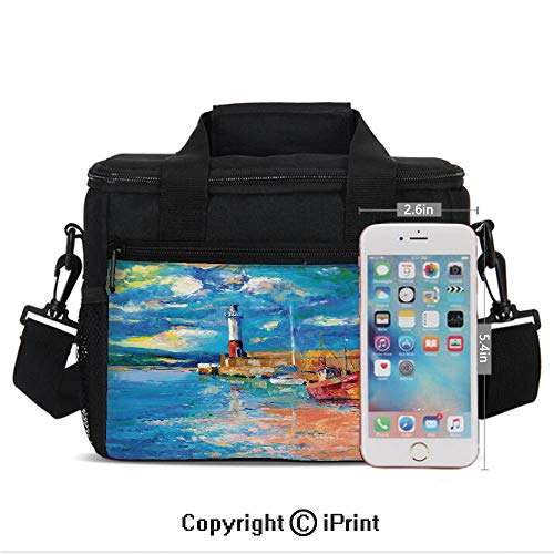 Insulated Lunch Bag Box for Men and Women, Oil Painting Tones Style Lighthouse and Boats on Sea Shore Town Coastal Charm Picture Decorative converts to a Tote Handbag - Easy to Clean Polyester Cloth