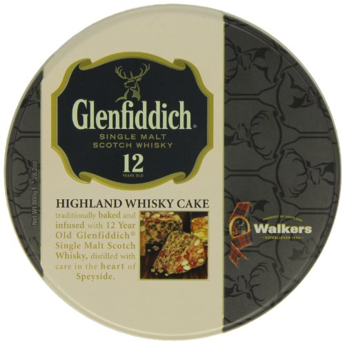 Walkers Shortbread Glenfiddich Highland Whisky Cake, 28.2 Ounce Tin Traditional Scottish Fruit Cake with Glenfiddich Malt Whisky, Cherries, Sultanas