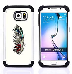 BullDog Case - FOR/Samsung Galaxy S6 G9200 / - / FEATHER WHITE BIRDS ARTISTIC TEAL RED /- H??brido Heavy Duty caja del tel??fono protector din??mico - silicona suave