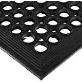 "NoTrax 504 General-Purpose Rubber Beveled Drain-Step Anti-Fatigue/Anti-Slip Floor Mat, for Wet Areas, 3' Width x 5' Length x 1/2"" Thickness, Black"