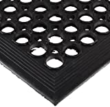 NoTrax 504 General-Purpose Rubber Beveled Drain-Step Anti-Fatigue/Anti-Slip Floor Mat, for Wet Areas, 3' Width x 5' Length x 1/2' Thickness, Black