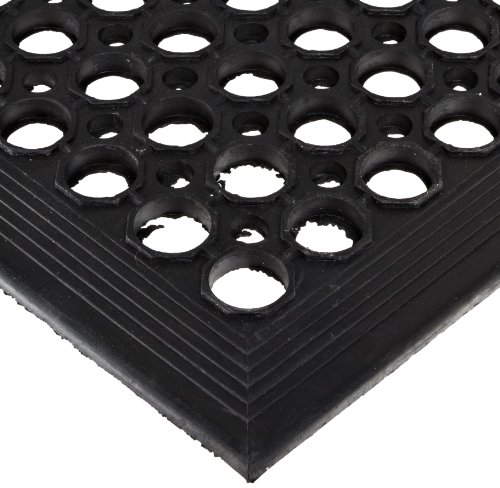 NoTrax 504 General-Purpose Rubber Beveled Drain-Step Anti-Fatigue/Anti-Slip Floor Mat, for Wet Areas, 3' Width x 5' Length x 1/2