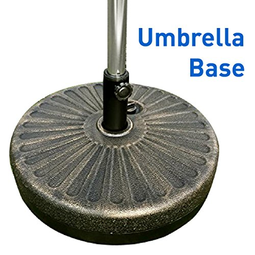 EasyGo Round Water Umbrella Base Weight – Brown Undertone/Gold Finish – 50 Pound Water Capacity or Sand Weighted Plastic Universal Stand