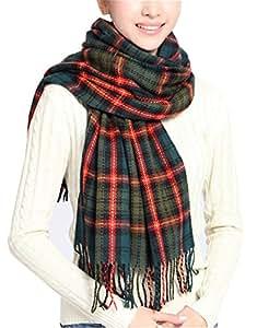 Wander Agio Women's Fashion Long Shawl Big Grid Winter Warm Large Plaid Scarf Green 2