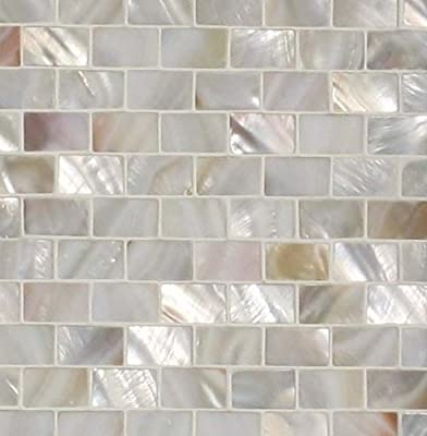 "Sample Size 4"" x 4"" Genuine Mother of Pearl Shell Tile Natural Varied 5/8"" x 1"" Minibricks for Backsplash and Bathroom Walls and Floors from Tile Circle"