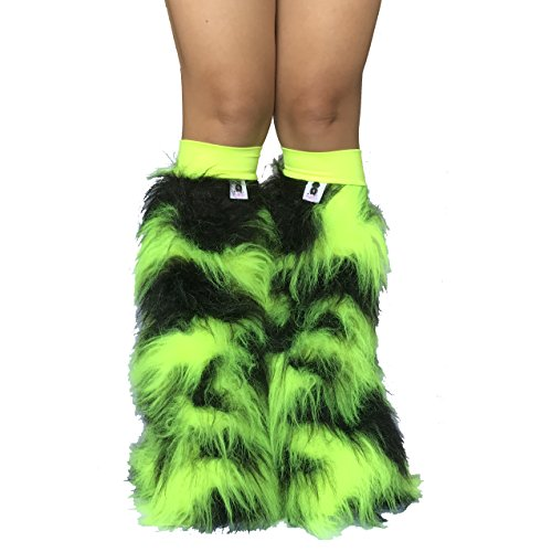 Psy Shoes Costume (Funk Camo Neon Green and Black Rave Furry Legwarmers Fluffies)