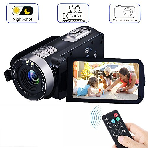 "Digital Video Camcorders, VPRAWLS 24.0 Mega pixels 16X Zoom Portable Mini Handheld Video Camera Recorder With IR Night Vision Full HD 1080P Max. DV 3"" LCD Screen (Two Batteries Included)"