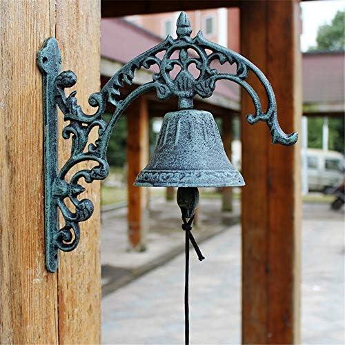 アンティークドアベル 鋳鉄アンティークドアのベルガーデンベルハンドベルウォールドアオーナメント屋内屋外 鋳鉄の装飾的なドアベル (Color : Bronze, Size : 27X26.5X11CM)