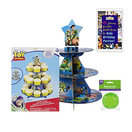 Toy Story Cupcake Kit bundle :: 1 Toy Story Cupcake Stand, and 75 Green Cupcake Liners with an eBook on fun recipes for Kids Birthday Parties]()