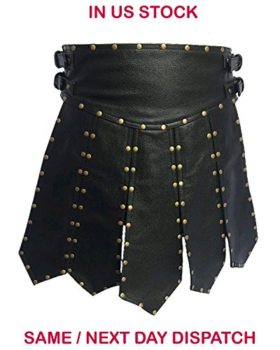 Real Black LEATHER ROMAN GLADIATOR SET MENS UNIFORM LARP GOTH STEAMPUNK