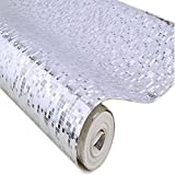 QIHANG Luxury Silver Foil Mosaic Background Flicker Wall Paper Modern Roll/hotel Ceiling/decorative Wallpaper Roll Silver Colour