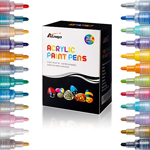 Paint Pens,24 Colors Premium Paint Markers for Painting on Rock, Glass, Canvas, Metal, Wood, Ceramic, Easter Egg, DIY Craft Projects